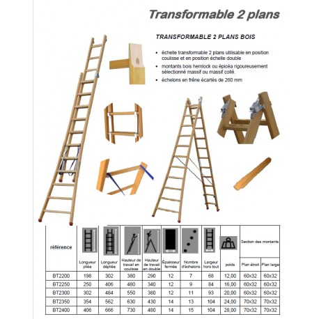 Echelle bois transformable 2 plans